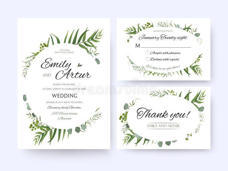 Wedding invite, invitation rsvp thank you card vector floral greenery design: Forest fern frond, palm leaf Eucalyptus branch. Green berries, foliage herbs vector illustration