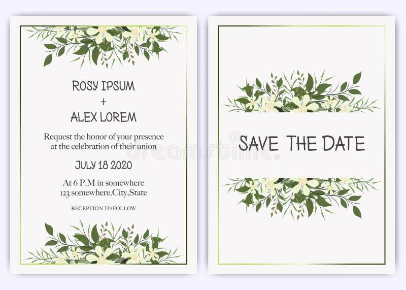 Wedding invite, invitation, save the date card design with elegant lavender  garden  anemone vector illustration