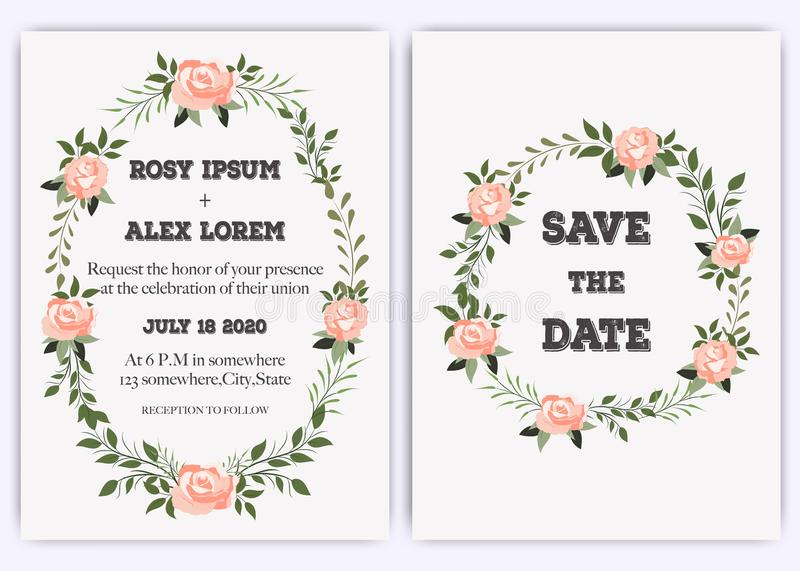 Wedding invite, invitation, save the date card design with elegant lavender pink garden rose anemone stock illustration