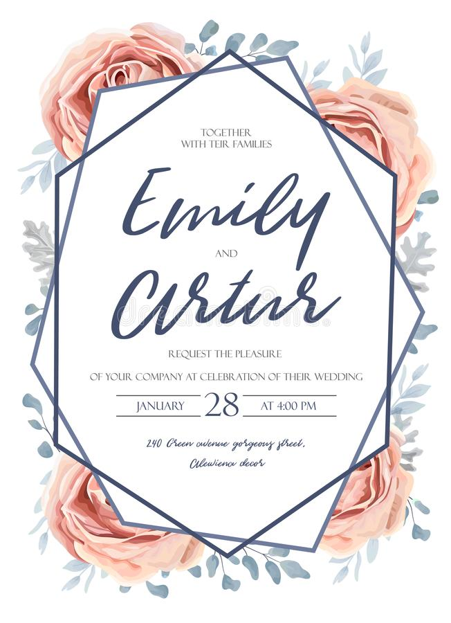 Wedding invite, invitation, save the date card design: pink peach garden rose flower, blue dusty miller leaves, fern greenery for royalty free illustration