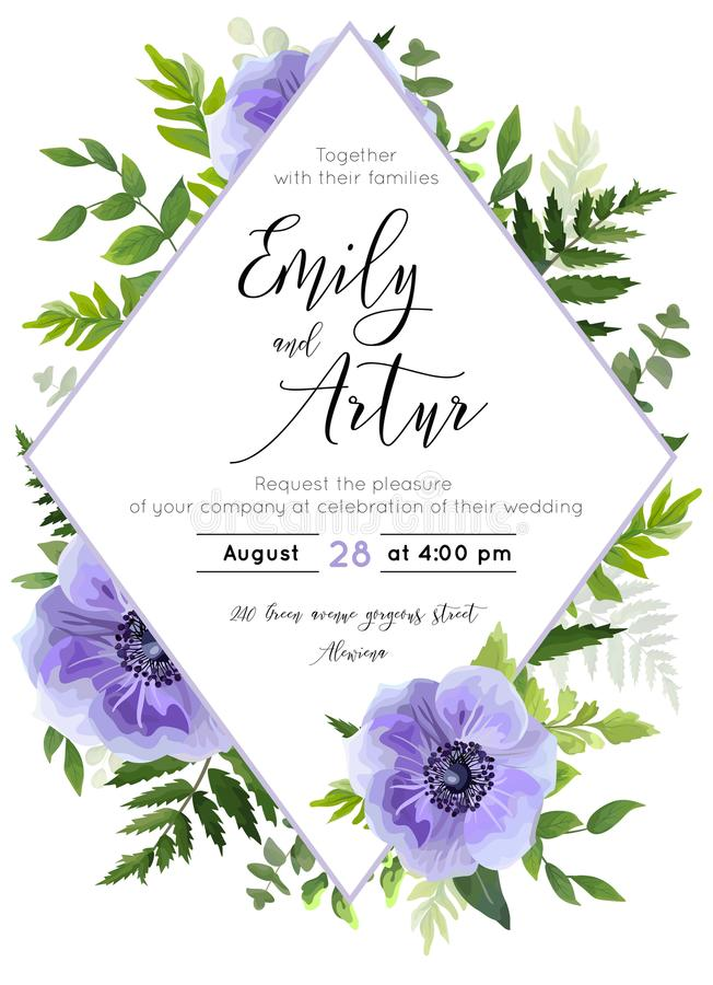 Wedding invite, invitation, save the date card design: violet lavender Anemone poppy flower, green leaves, forest greenery foliage stock illustration