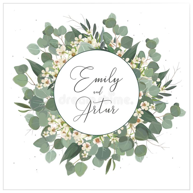 Wedding invite, invitation, save the date card floral design. Wreath monogram with silver dollar eucalyptus greenery leaves, green stock photo