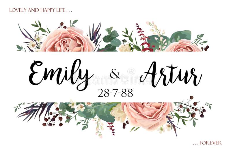 Wedding invite invitation save the date card floral watercolor s vector illustration