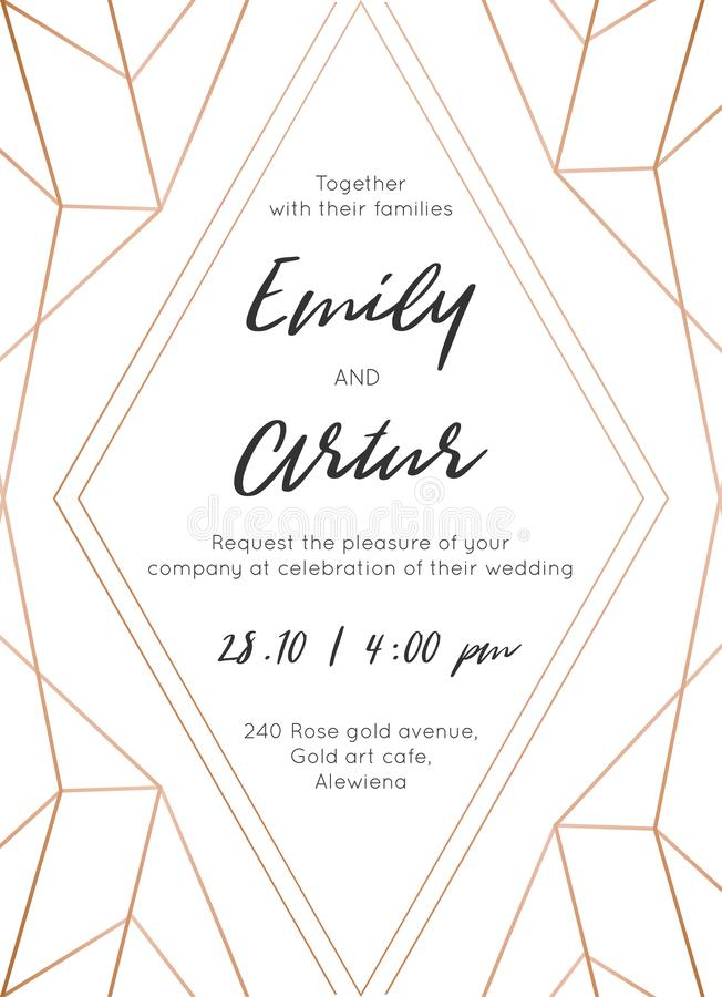 Wedding invite, invitation save the date card modern design with geometrical golden rose, copper, metallic foil classy decorative royalty free stock photos