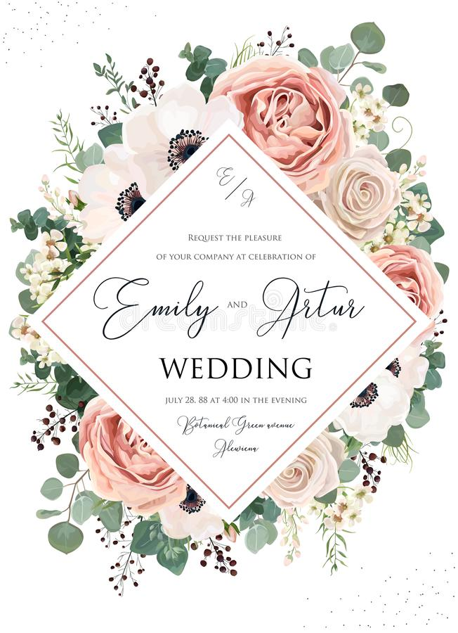 Free Wedding Invite, Invitation, Save The Date Card Floral Design. Pink Rose Flower, Blush Dusty Anemone Flowers, Eucalyptus Silver, Royalty Free Stock Photography - 136590317
