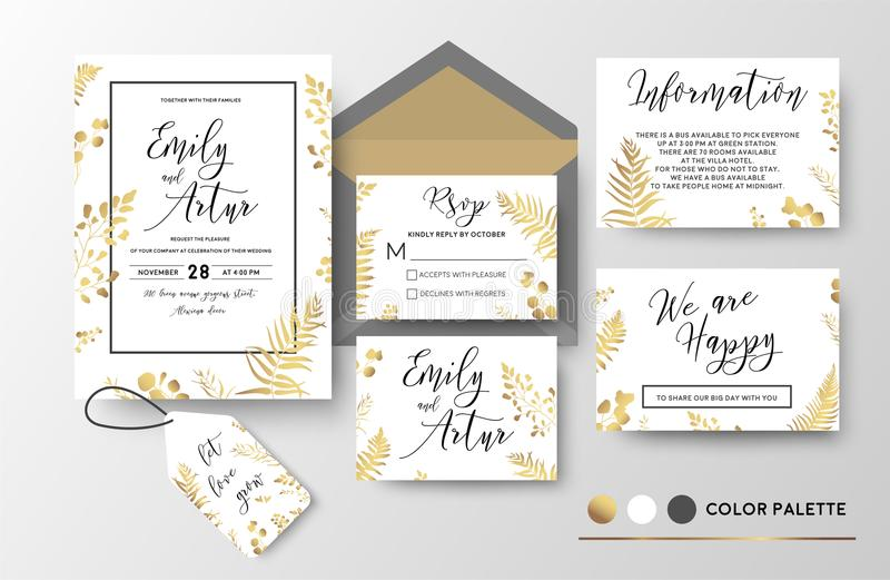 Wedding invite, invitation, thank you, rsvp, label card vector f. Loral design; golden foil print pattern of forest leaves, palm, fern fronds, eucalyptus branch royalty free illustration