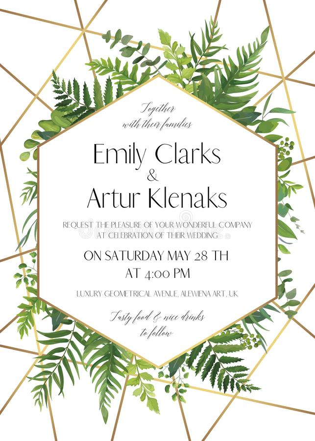 Wedding invite, save the date card design with natural forest greenery leaves, ferns, tropical palm leaves, berries & golden foil. Stripes, geometrical stock illustration