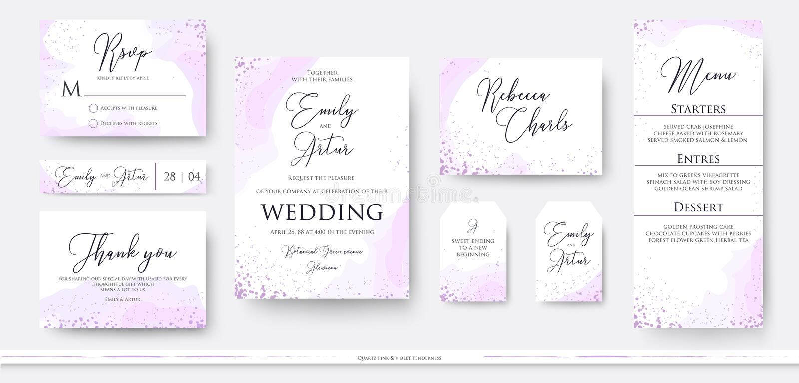 Wedding invite thank you, rsvp menu card design set with abstract watercolor decoration in light tender dusty pink, rosy and viol vector illustration