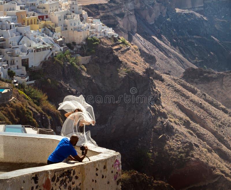 Wedding on the island of Santorini. stock images