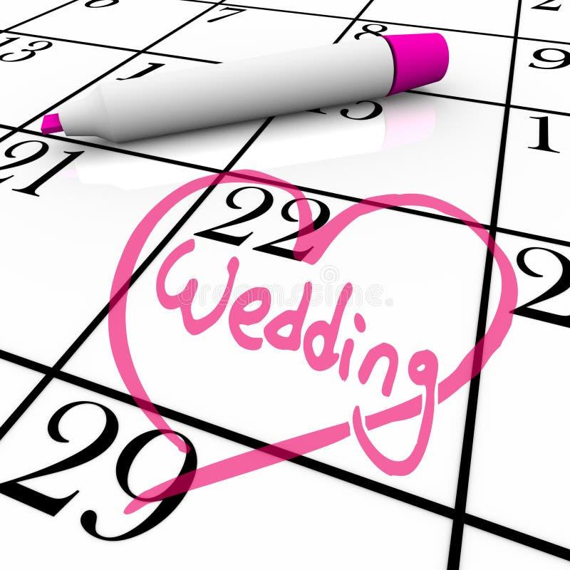 Wedding - jour de mariage cerclé avec le coeur illustration stock
