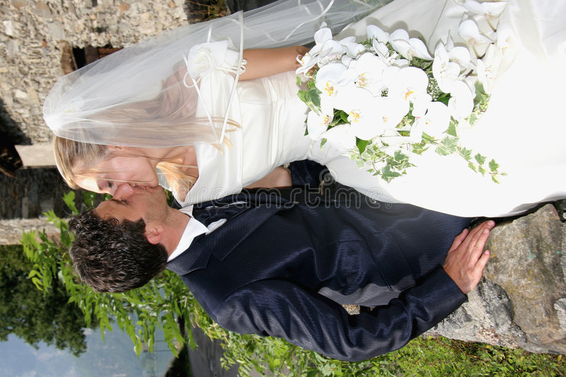 Wedding kiss. Wedding pictures, the couple just married royalty free stock images