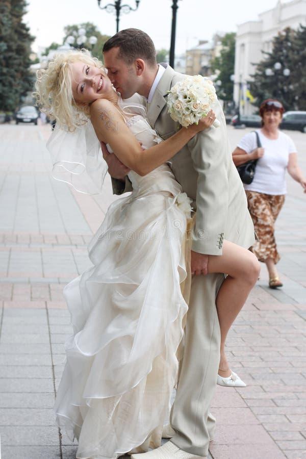 The wedding kiss royalty free stock photos
