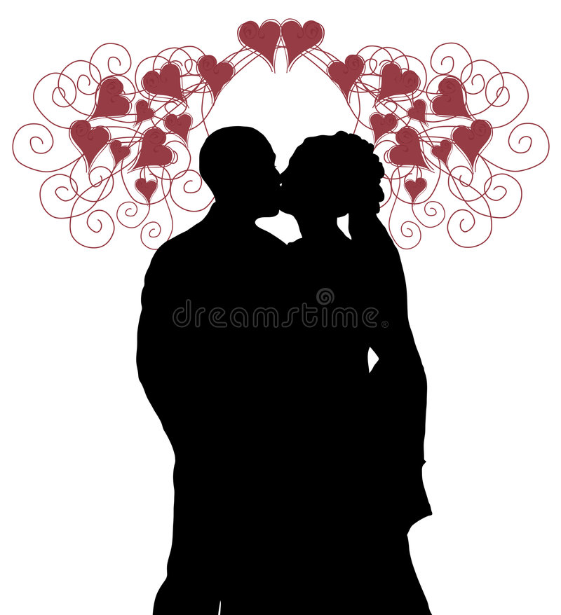 Download Wedding Kiss With Hearts stock illustration. Image of dress - 4294685