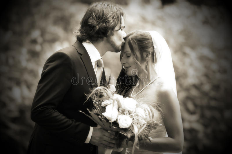 Wedding kiss very romantic royalty free stock images