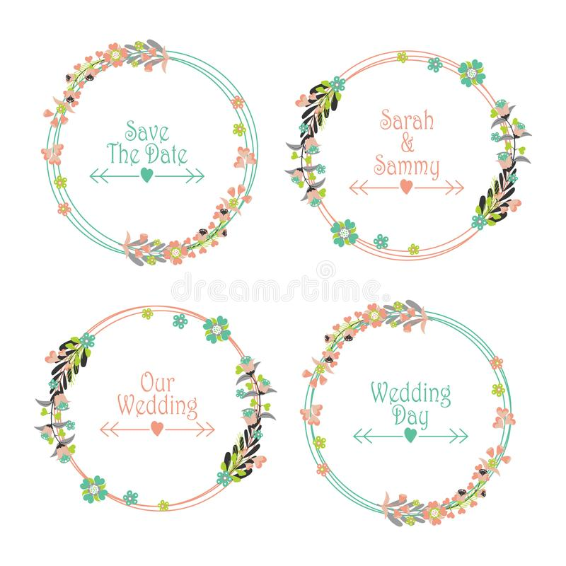 Wedding label set vector design template with flowers wreath royalty free stock photos
