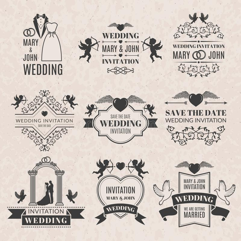 Wedding labels set in victorian style. Monochrome pictures set for badges or logos royalty free illustration