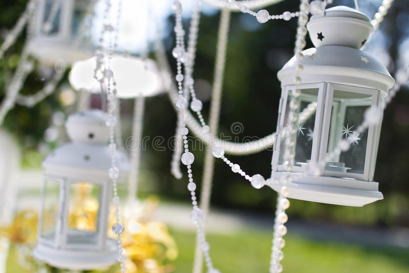 Wedding lantern. Wedding arch and lantern closeup royalty free stock image
