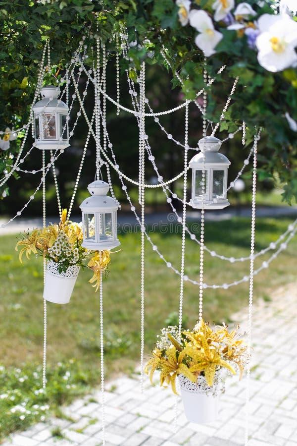 Wedding lantern. Wedding arch and lantern closeup stock images