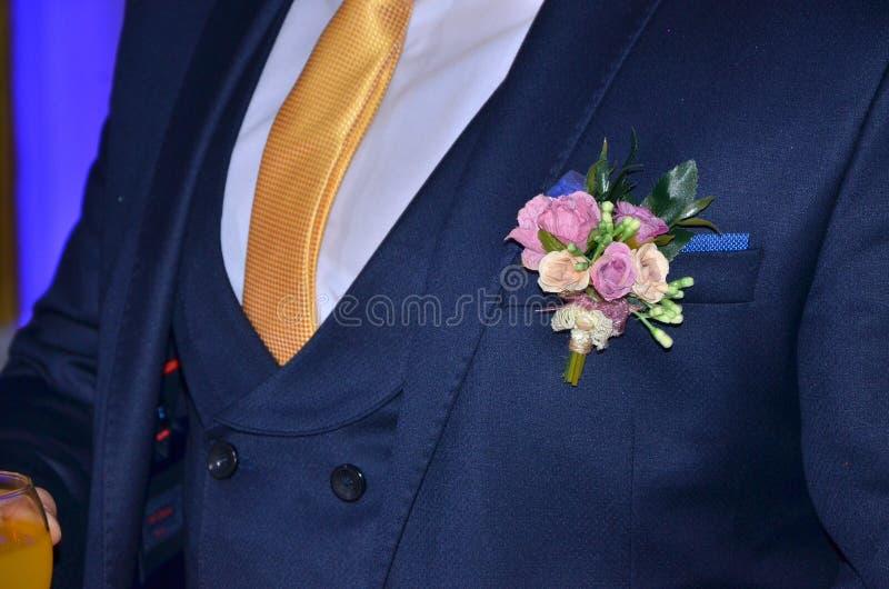 Wedding lapel pin stock photography