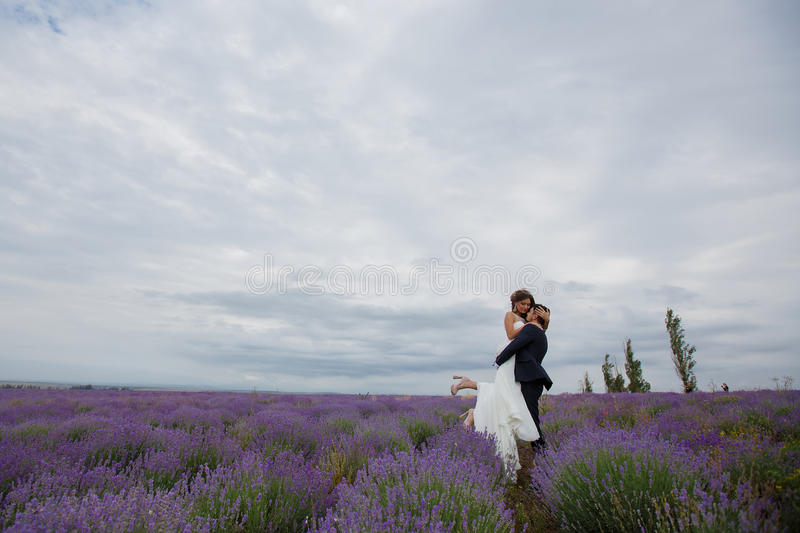 Wedding lavender field. Young couple in love bride and groom, wedding day in summer. Enjoy a moment of happiness and love in a lavender field. Bride in a stock photos