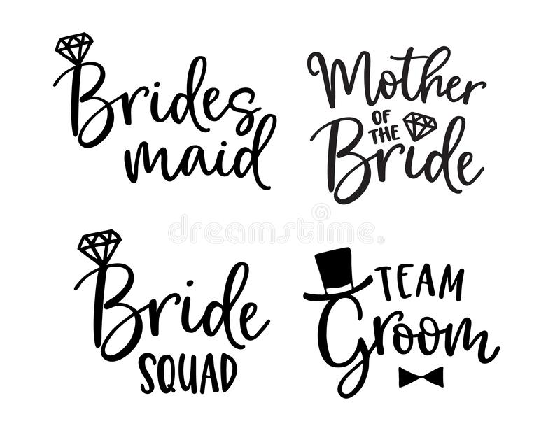 Wedding lettering set. Black hand lettered quotes with diamond rings for greeting cards, gift tags, labels. Typography. Collection. Love concept. Isolated stock illustration