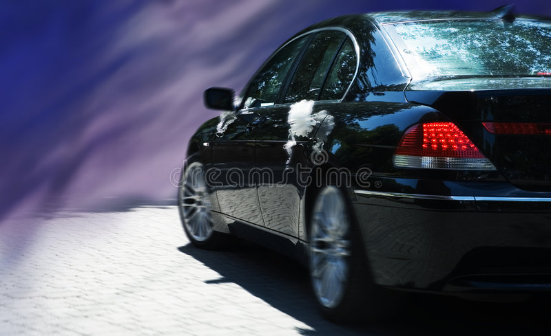 Wedding limo on the abstract background. Black wedding limo on the abstract background stock image