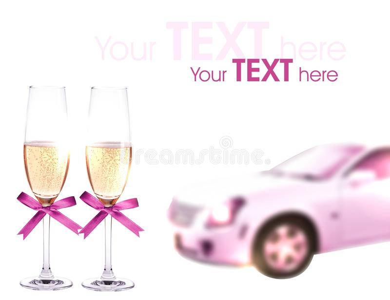 Wedding limo and champagne. On a white background. There is a place for text. Blur effect and light background help to draw attention to your text stock image