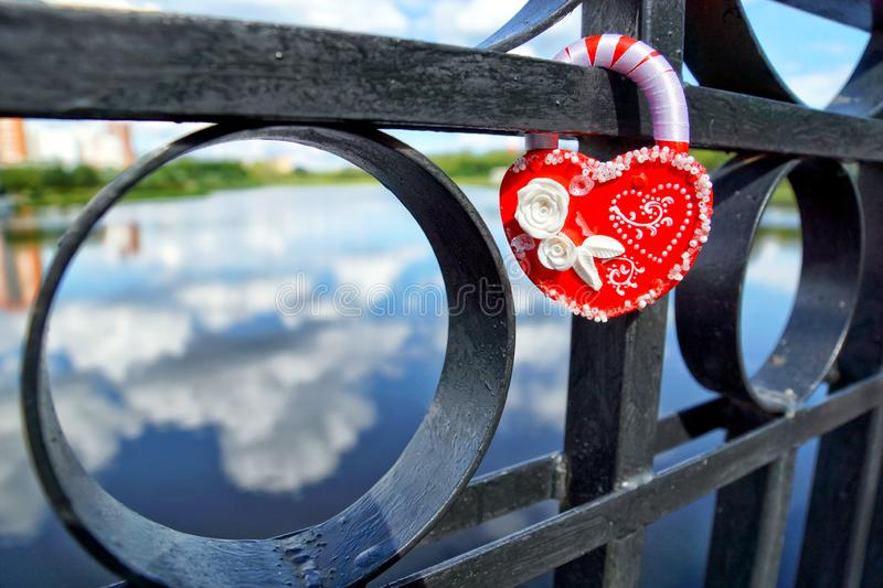 Wedding lock on the bridge stock photography