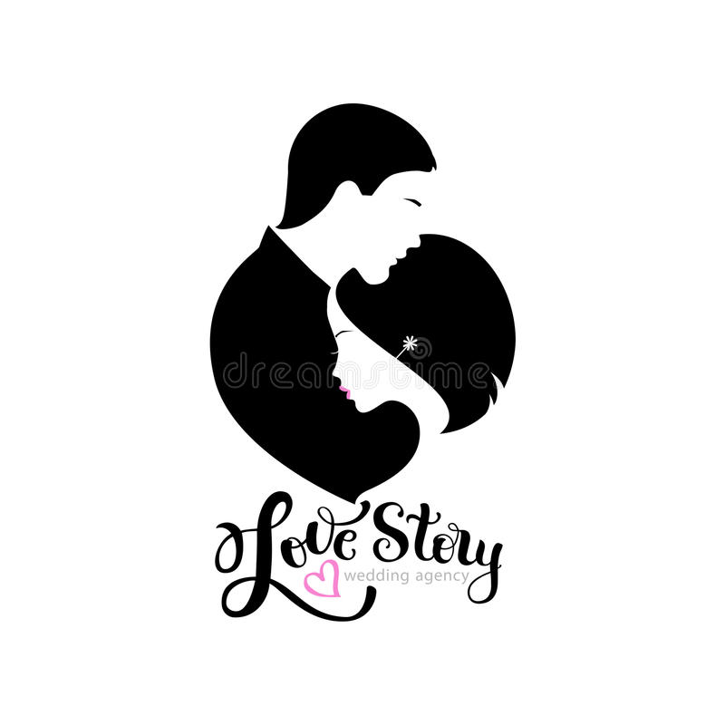 wedding logo with silhouettes bride and groom stock vector
