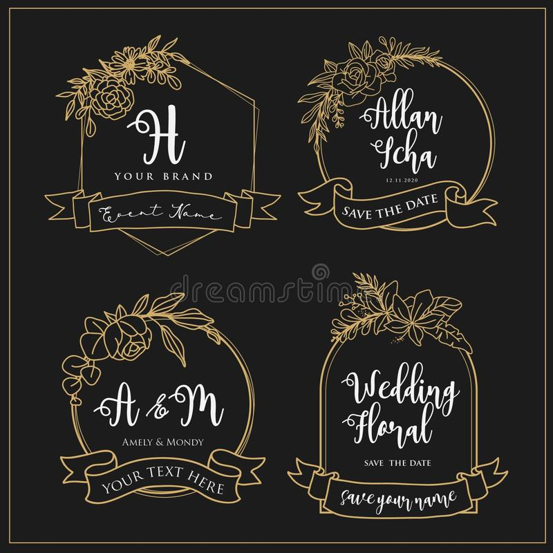 Wedding logos that can be edited with flower lines vector illustration