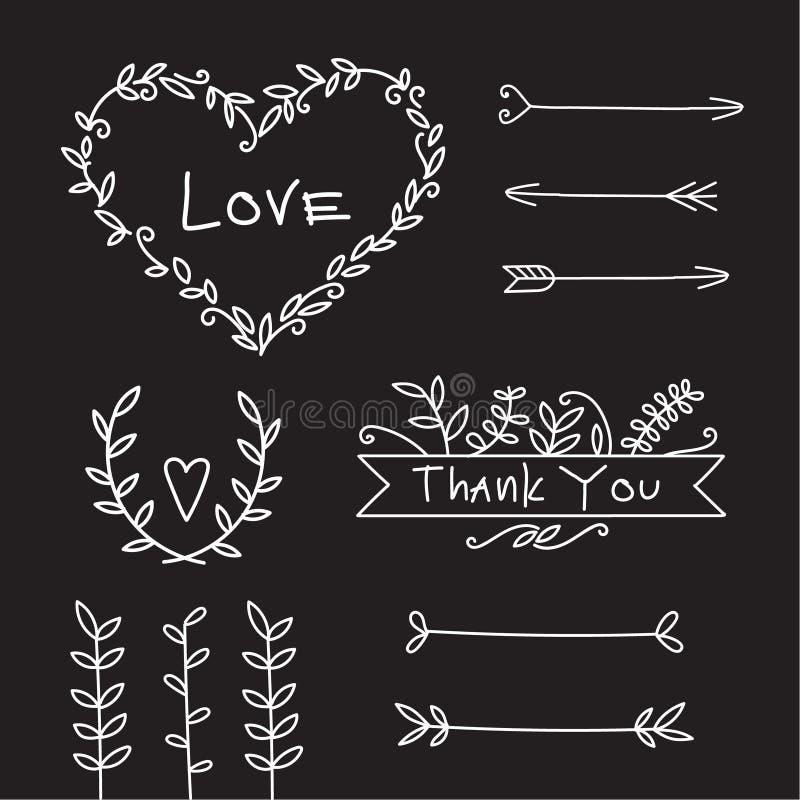 Wedding love decorative elements set stock photography