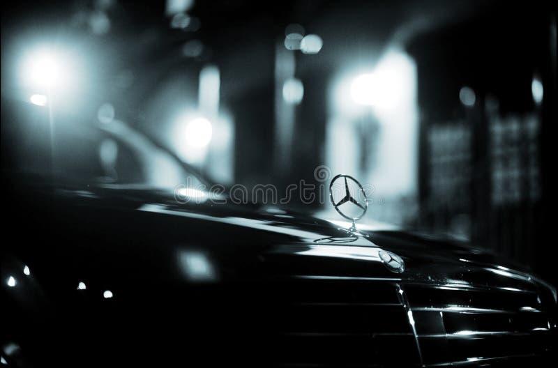 Wedding luxury car on marriage day. Wedding luxury Mercedes Benz chauffeur driven limousine car driving on marriage day photo stock photos