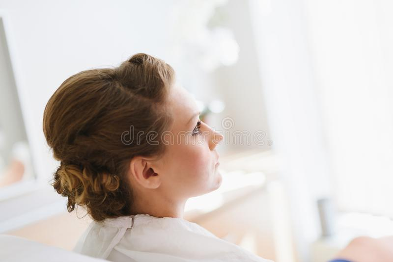 Wedding makeup for bride. stock images
