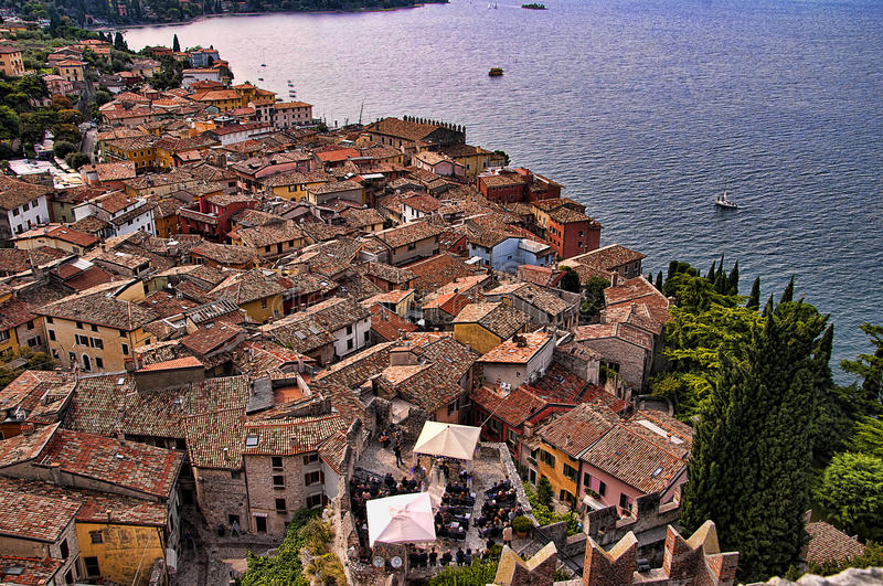 Wedding at Malcesine on Lake Garda in Northern Italy. Malcesine is one of the lovely towns on this lake in Northern Italy Lake Garda is a popular European royalty free stock photos