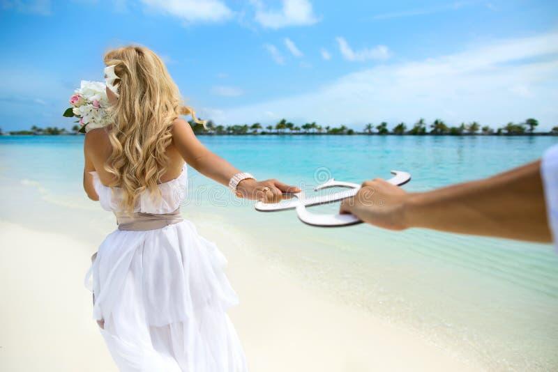 Wedding on Maldives. Young couple honeymoon on Maldives