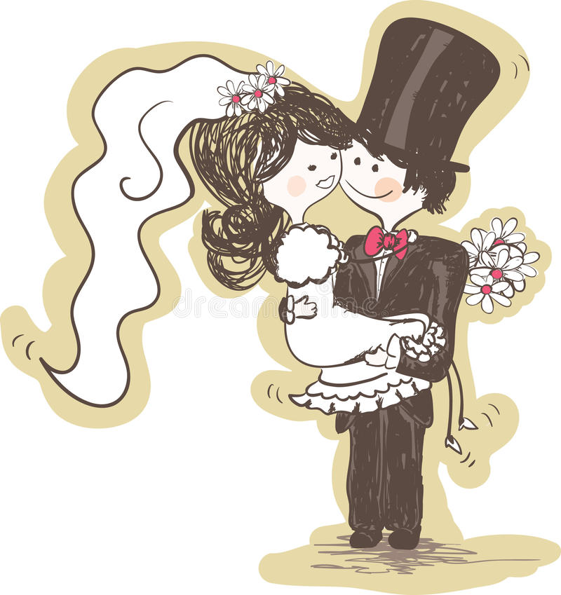 wedding - mariée de transport de marié illustration de vecteur