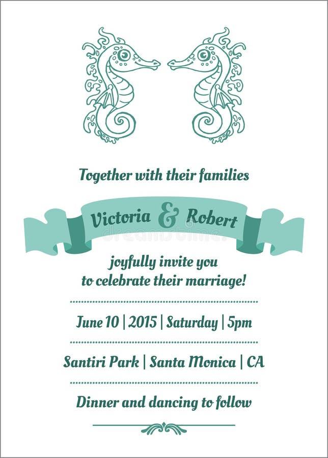 Wedding Marine Invitation Card royalty free illustration