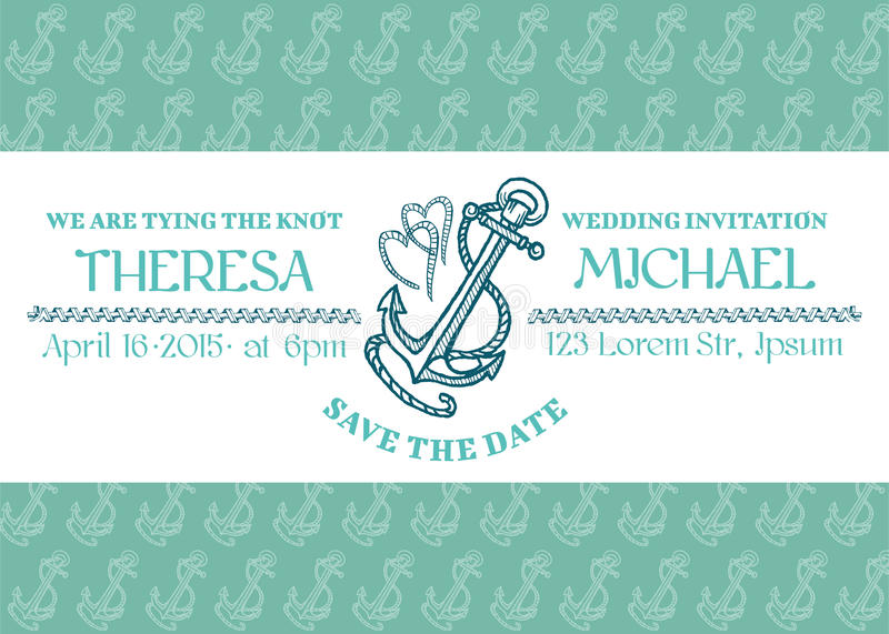 Download Wedding Marine Invitation Card Stock Vector - Illustration of design, invitation: 29649334
