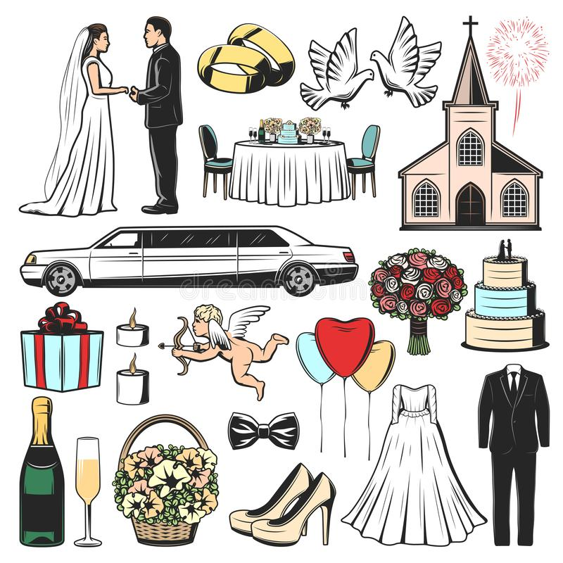 Wedding icons of marriage gift, heart and love stock illustration