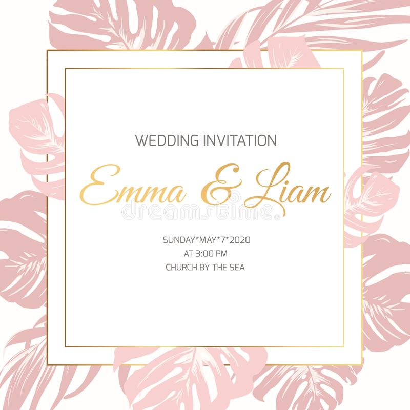 Wedding marriage event invitation border frame card template. Pink xxotic tropical jungle rainforest monstera leaves. Wedding marriage event invitation border vector illustration