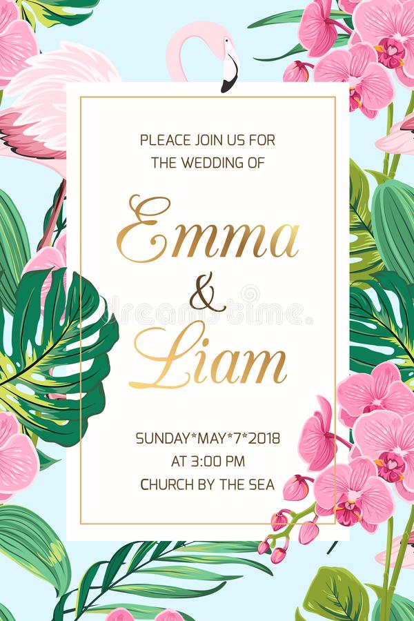 Wedding invitation tropical leaves orchid flamingo. Wedding marriage event invitation card template. Tropical jungle rainforest bright green palm tree monstera stock illustration