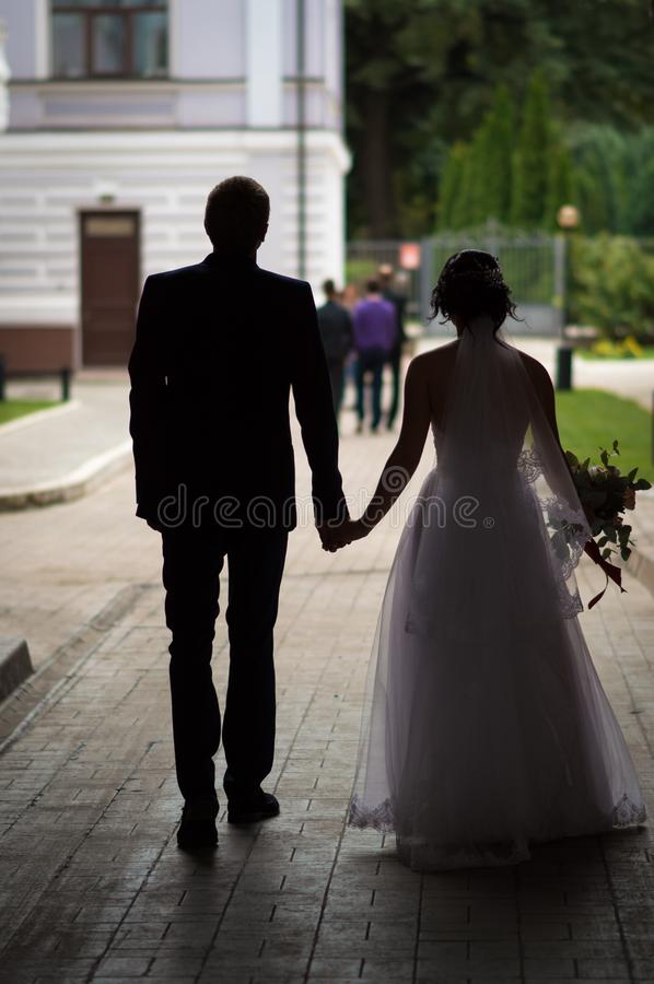 Wedding Marriage of the Young. Wedding marriage of young holiday fun joy two hearts are tied into one royalty free stock images