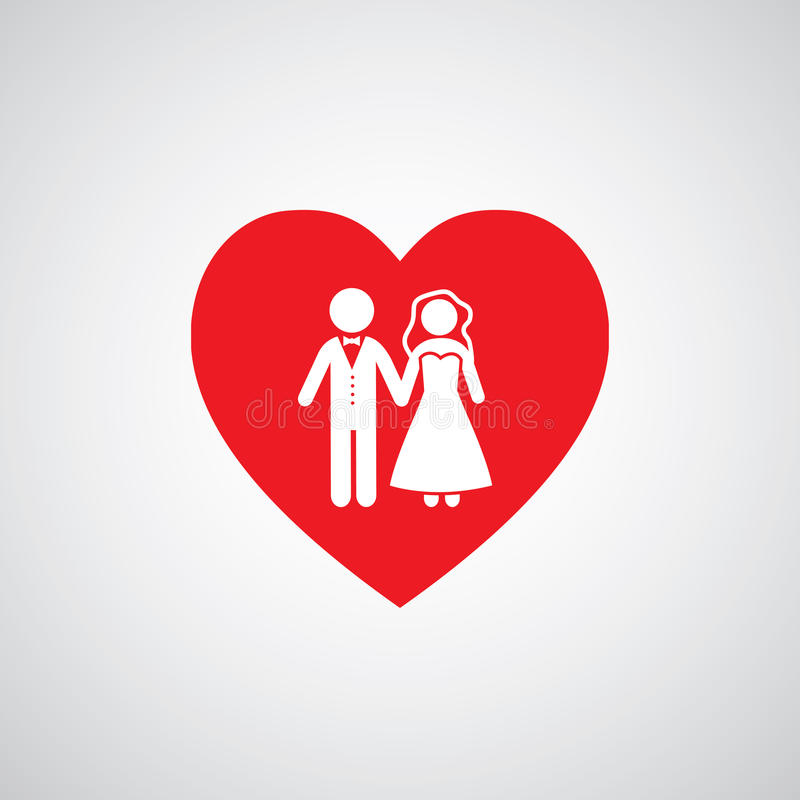 Wedding married couple icon. Vector wedding married couple icon stock illustration