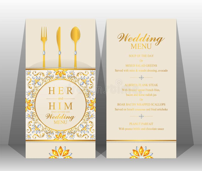 wedding menu card templates stock vector illustration of