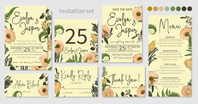 Wedding menu, information, label, table number and place card design with eustoma  cream flowers, brunia, green fern, eucalyptus,. Branches, pattern. Vector royalty free illustration