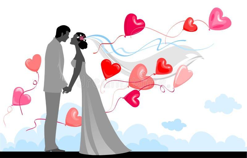 Wedding mit festlichen Ballonen stock abbildung