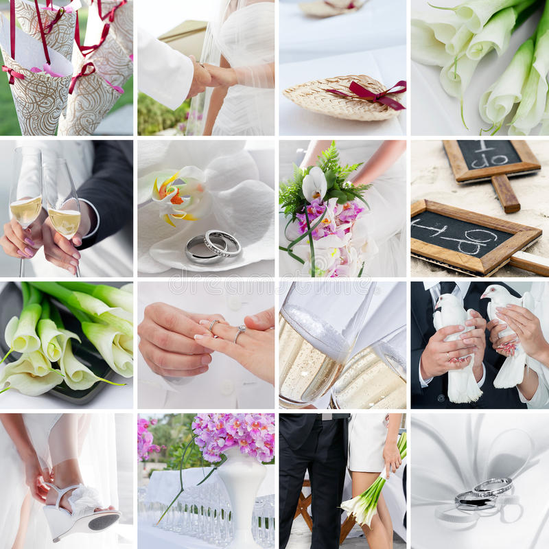 Wedding mix. Wedding theme collage composed of different images royalty free stock photos