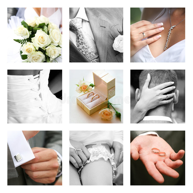 Wedding moments. Creative collage composed of nine wedding moments royalty free stock photography