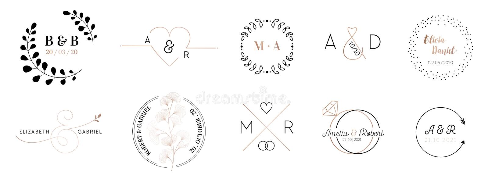 Wedding monogram logos collection, hand drawn modern minimalistic and floral templates Invitation cards, Save the Date stock illustration