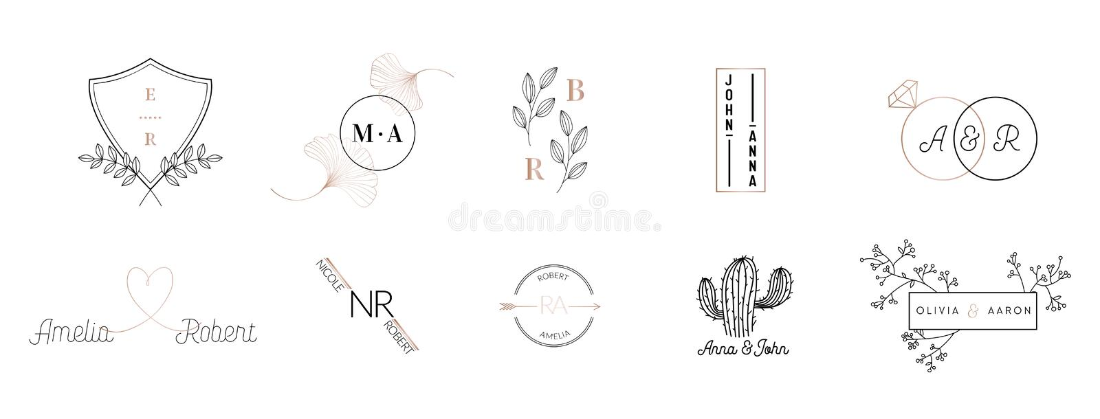Wedding monogram logos collection, hand drawn modern minimalistic floral templates for Invitation cards, Save the Date vector illustration